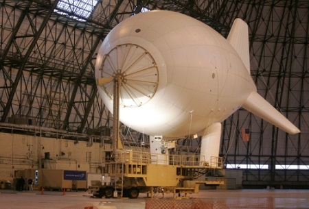 This February 2009 file photo shows the aerostat on the mooring station of the Persistent Threat Detection System in the Lockheed Martin Airdock in Akron. Photo: Mike Cardew/Akron Beacon Journal