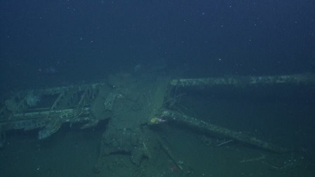 Part of the USS Macon wreckage on the Pacific Ocean floor off the California coast. Photo: Nautilus Live