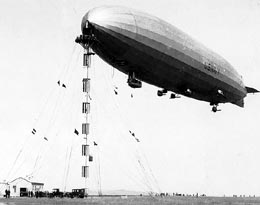 USS Shenandoah moored to a portable mast, ca 1924-1925