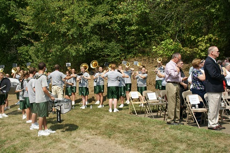 "The Shenandoah ""Zeps"" High School Band playing the National Anthem. Photo: Alvaro Bellon"