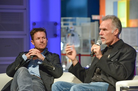 Felix Baumgartner, Pilot, and Art Thompson, Technical Director, talk about the science and technology that made the  Red Bull Stratos mission possible at the Ontario Science Centre on October 13, 2015. The Red Bull Stratos exhibit runs at the Science Centre until January 11, 2016.  Photo: CNW Group/Ontario Science Centre