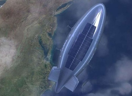 Yuanmeng This concept art shows China's 18,000 cubic meter Yuanmeng airship 20km above the ground (and for some reason, off the coast of the Mid Atlantic U.S.). One of the highest flying airships, the Yuanmeng can provide wide area surveillance and communications capability. Image:  cannews.com