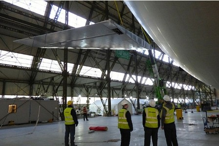 Airlander 10 having its first fin fitted