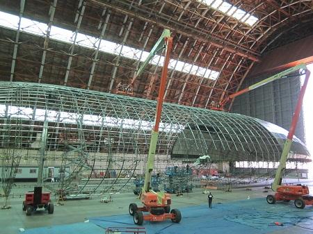 Aeroshell frame under envelope during construction (2012) . Image courtesy of Aeroscraft Corp.