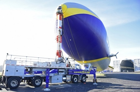 The Mast Truck keeps the new Goodyear NT-2 Airship in place while receiving the information to be processed from the airship. Photo: David Dermer - Akron Beacon Journal