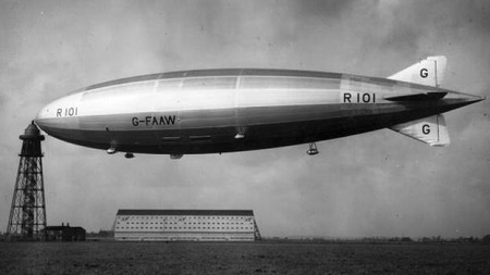 The R101 was built at Cardington. It was the world's largest flying craft at 731ft (223m) long and had been intended to service routes within the British Empire. Image courtesy of BBC/Getty Images.