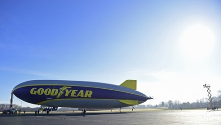 The second new technology Goodyear airship hangs at the mast truck after coming out of the hangar for testing. Photo: David Dermer - Akron Beacon Journal.