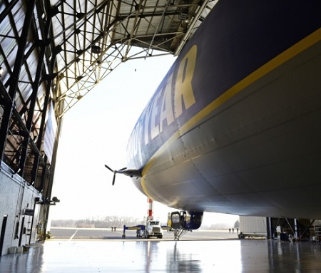The second new technology Goodyear airship floats out of the hangar for testing. Photo: David Dermer - Akron Beacon Journal.