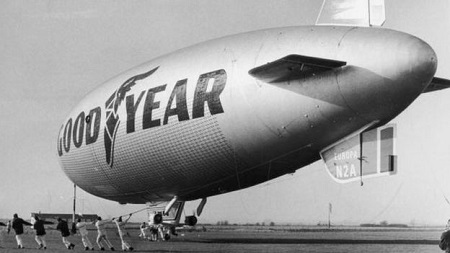 Airships returned to Cardington in 1972, when tire company Goodyear had this blimp assembled in Hangar 2. It was used for publicity purposes across Europe, including at the Munich Olympics. Image courtesy of BBC/Getty Images.