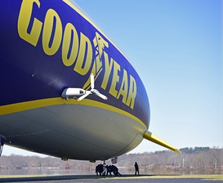 Goodyear airship ground crew help move the second Goodyear new technology airship to specific marked positions during a compass swing. Photo: David Dermer - Akron Beacon Journal.