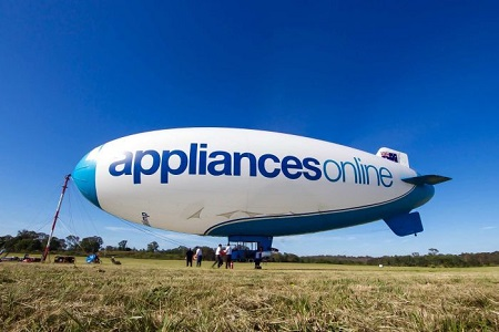 The blimp is, in some senses, a kind of floating billboard. Photo: Corey Hague