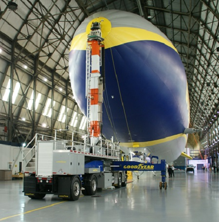 Goodyear's new Blimp NT moored to the mast truck inside the Wingfoot Lake hangar. Photo © Alvaro Bellon