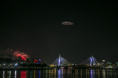 The Flying Cucumber, espying some Boston fireworks in 2015. Photo: Van Wagner Airship Group