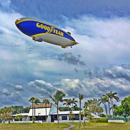Wingfoot One's Wednesday over the Welcome Center. Photo: Goodyear Blimp/Facebook