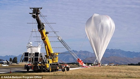 The NASA Super Pressure Balloon shown just before launch from Wanaka, New Zealand. The balloon took off from New Zealand on 16 May and landed in Peru on Saturday. Source: DailyMail.co.uk