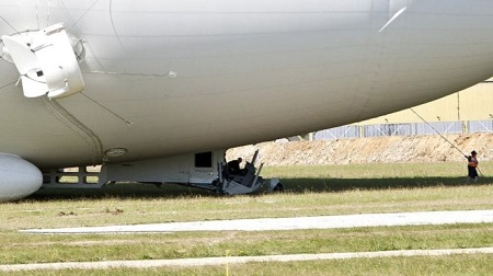 The £25m plane understood to have sustained damage to its cockpit. Image: BBC/South Beds News Agency.