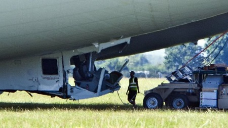 The cockpit was damaged on landing. Image: BBC/South Beds News Agency.