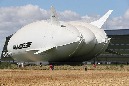 The Airlander 10, part plane, part airship, is out its hangar for the first time at Cardington Airfield in Bedfordshire. Image: Daily Mail/PA.