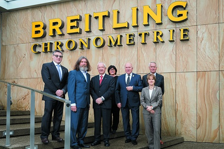 From left to right: Arsen Balayan (Breitling Russia), FAI - Breilting Pilot of the year 2016 Award winner Fedor Konyukhov, Breitling Ambassador Brian Jones, Monika Pieren (Executive Director, Aviation Department, Breitling S.A.), Russian NAC President Gen. Vladimir Ivanov, FAI President Frits Brink and FAI Secretary General Susanne Schödel. Source: FAI.org