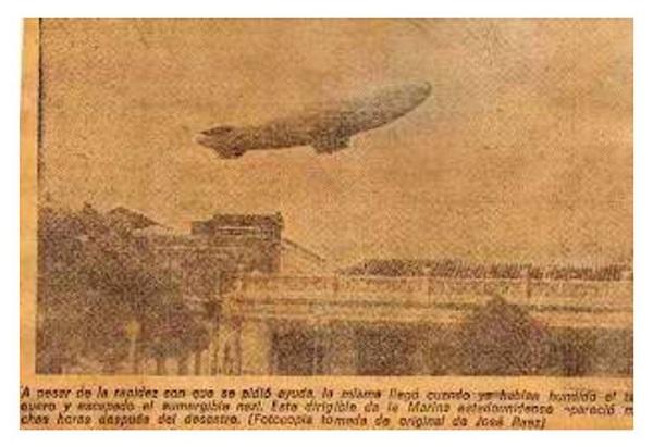A US Navy blimp flies over the town of Gibara, Cuba on April 30, 1942.