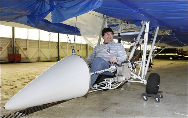 David Miller, in the cockpit of the Dynalifter, is working with the inventor and company founder to resolve financing problems.Photo: The Blade/Dave Zapotosky