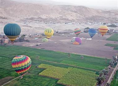 Balloons float in the air in Luxor before another balloon crashed. Photo: Courtesy Christopher Michel