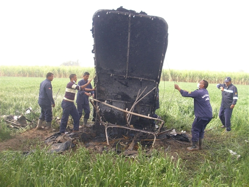 Wreckage at the scene of a hot air balloon crash near Luxor, Egypt. Photo: NBC News