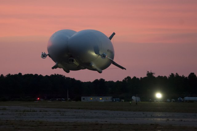 This photo from August 2012 shows the only flight of the Long Range Multi-Intelligence Vehicle, a ginormous spy blimp that the Army has now deflated.  Photo: U.S. Army