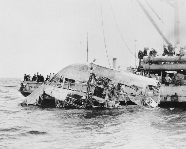 In this April 23, 1933, photograph, the wreckage of the naval dirigible USS Akron is brought to the surface of the ocean off the coast of New Jersey. (Photo: AP)