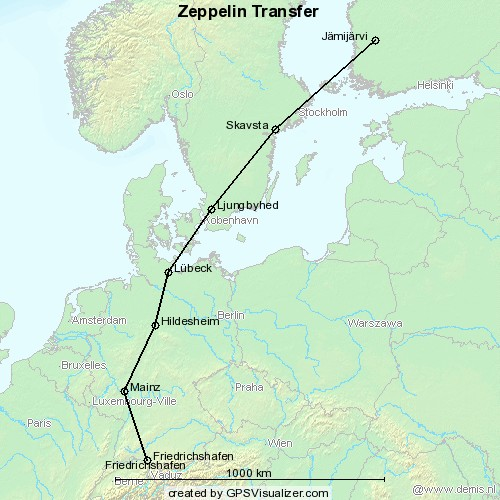 Map of Zeppelin transfer to Finland