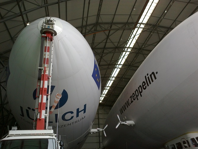 The Pegasos Zeppelin inside the Friedrichshafen airhip hangar, alongside another Zeppelin NT.