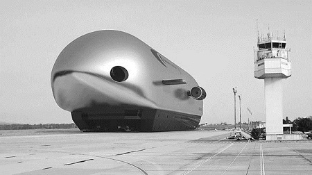 An artist's conception of an ARH-50 airship parked at an airport. Image: Varialift Airships