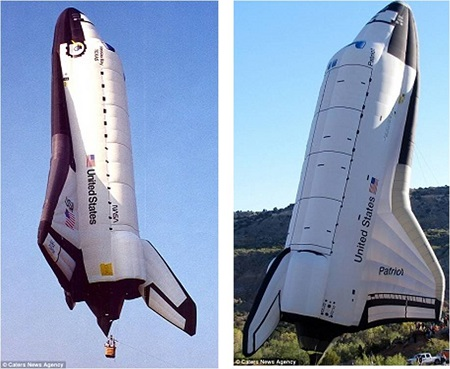 One small step for man, to create one giant hot air balloon: A replica of a Nasa space shuttle which was created by Cameron Balloons in Bristol