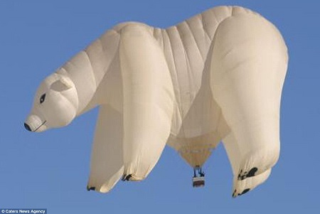 Custom design: A hot air balloon designed to look like a polar bear which was created by Cameron Balloons. A balloon like this is made out of around 3,000 square meters of fabric