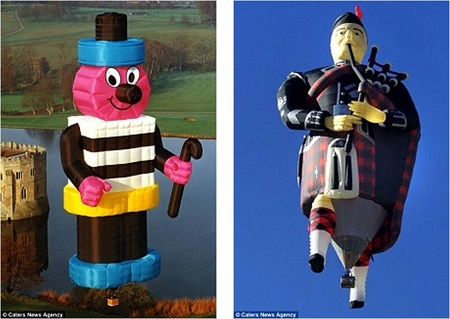 Wacky creation: A Bertie Bassett Liquorice Man, left. With the basket it stands at 51 metres tall and the fabric used would make up to 1,340 suits. Right is a custom-designed Scottish-piper balloon