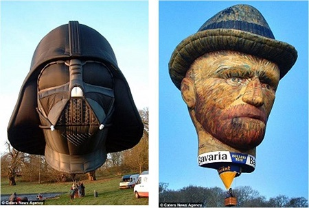 Terrifying: A Darth Vader balloon gets ready for takeoff, left, while this is the face of a Van Gogh made for a Dutch beer company, right