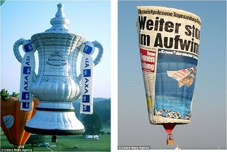 Up for the cup: A 38 meter tall model of the FA Cup which is made out of 3,664 meters of fabric and would cover over half the Wembley pitch if it was flattened (left) and (right) a newspaper is turned into a hot air balloon