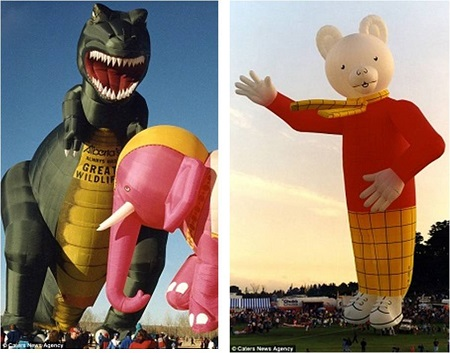 Terrifying! A T-rex style hot air balloon which is so intricately designed that each of its teeth are filled with air and inflated as well (left) and children's favorite Rupert the Bear (right)