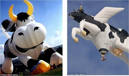 Udderly incredible: A winged cow floats through the sky (right). This is one of the Bristol-based company's most wacky creations