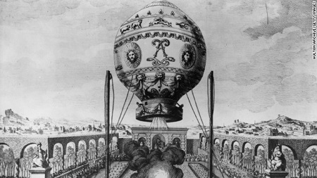 Airships developed from the hot air balloon; the Montgolfier brothers launched the first manned balloon flight in Paris in 1783.