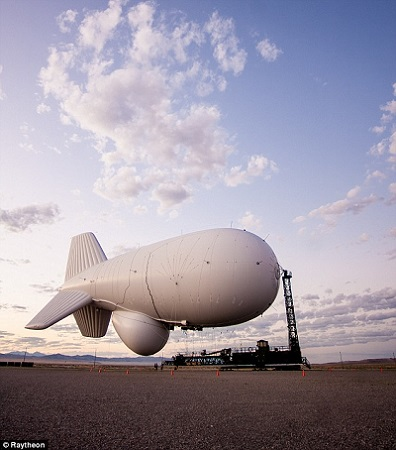 Raytheon, the defense contractor that made and developed the JLENS system, said the blimps can be operated for one fifth the cost of other aerial radar systems - like planes, drones and helicopters. Photo: Raytheon/Daily Mail