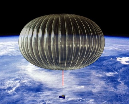 A rendering of a high-altitude balloon suspended over most of the Earth's atmosphere. That thing dangling from its underside is a telescope.  Photo: NASA/Columbia Scientific Balloon Facility