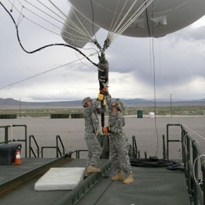 Military personnel finalizes preparations for launch of a JLENS aerostat. Photo: Popular Mechanics