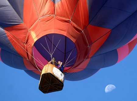 Final day of balloon race - Pilot Andrew Petrehn flies away from the target at East Texas Regional Airport