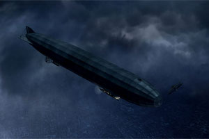 Zeppelin on a night bombing raid