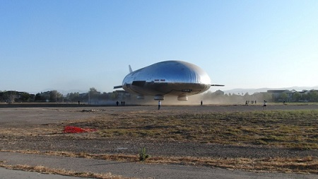 The airship hovers near the ground during tethered flight testing on Saturday,  September 7, 2013. Photo: Aeros