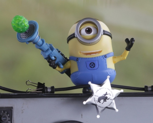 A minion on the dashboard of the Despicablimp. hoto: Phil Masturzo - Akron Beacon Journal