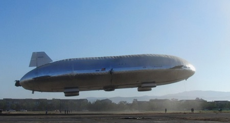 Still attached to tethers, the Aeroscraft prototype lifts a short way into the sky as pre-flight testing continues on the ground-breaking airship  Photo: Aeros)