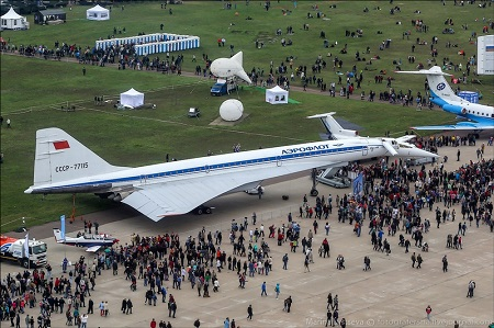 An Aviation Police Aerostat is moored behind a Tupolev 144 Super Sonic Transport (the SST is not in service)