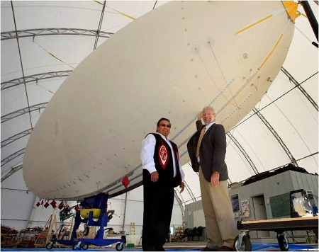 MKO Grand Chief David Harper (left) and ISO Polar president Barry Prentice show off a 21-metre airship. Chiefs hope airships can solve northern shipping problems.  Photo: Wayne Glowacki – Winnipeg Free Press